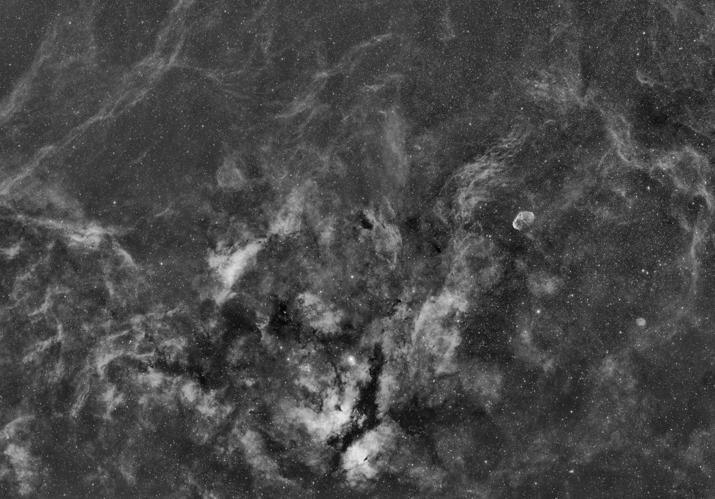 Cygnus Mosaic in Hydrogen Alpha Emission Line FSQ-106ED Apogee U16 CCD Baader 7nm Ha Filter AP900GTO Mount 6x20min Exposure Campmeeting Observatory, Sewickley, PA