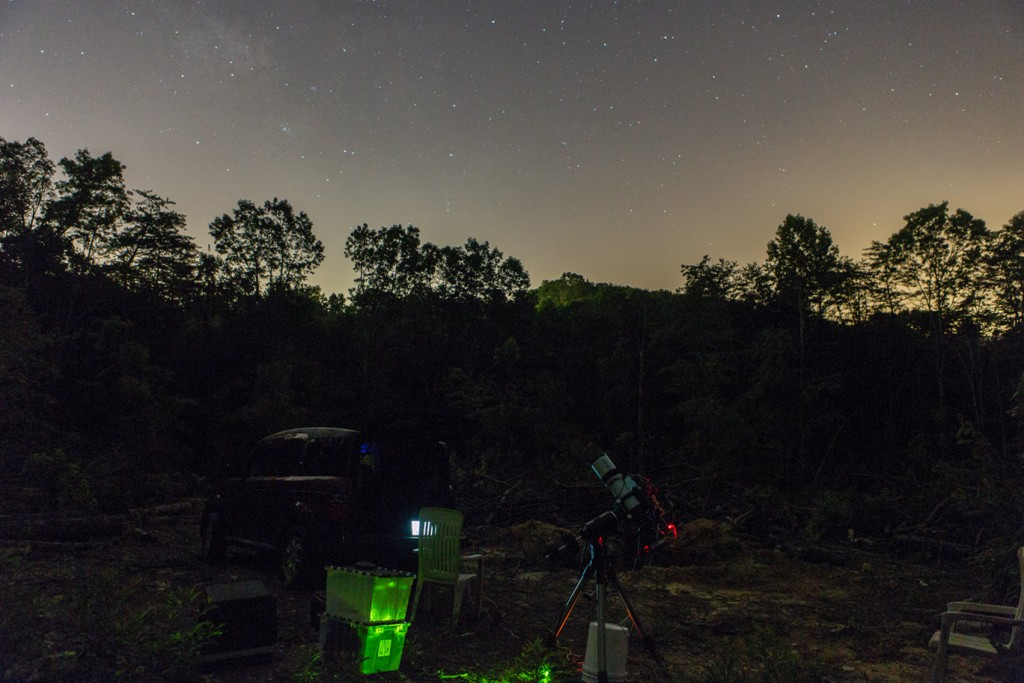 Home Observatory Site looking South.  The faint open cluster appearing on the left is M7 in Scorpius.