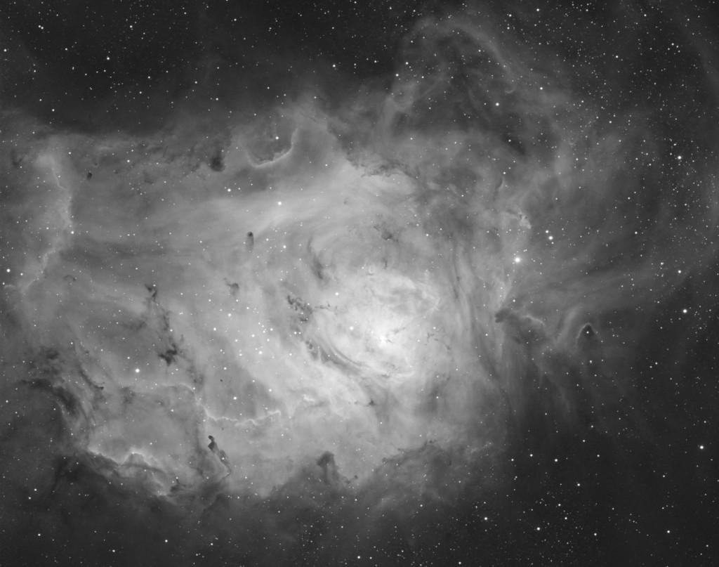 M8 - The Lagoon Atlas EQ-G Stellarvue SVQ100, Apogee Ascent A694 8x20min through a Baader Ha 7nm filter.